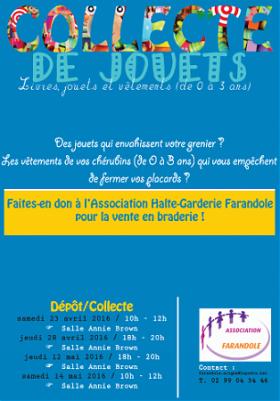 COLLECTE DE JOUETS ET VETEMENTS - Halte Garderie Farandole
